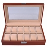 Brown Leather 12 Watch Display Case Glass Top Jewelry Box