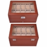 Brown Leather 20 Watch Case Glass Top Jewelry Display Box