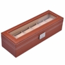 Brown Leather 6 Watch Display Case Glass Top Jewelry Box