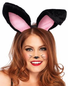 Bunny Ears Adult Plush Black Costume