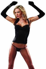 Bustier W G String Blk Large Costume