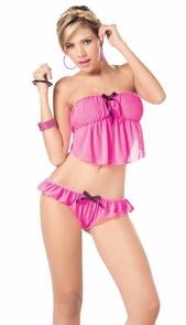 Cami & Panty Set Pink/black Sd Costume