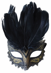Carnivale Eye Mask Black Gold Costume