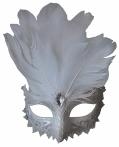 Carnivale Eye Mask White Silve Costume