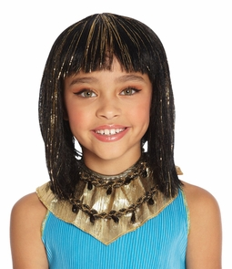 Cleo Child Wig Black With Gold Costume