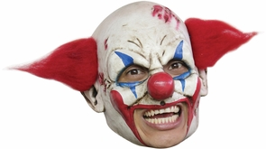 Deluxe Clown Chinless Mask With Red Hair Costume