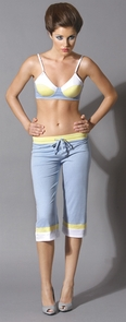 Cropped Pants Dove Blue Large Costume