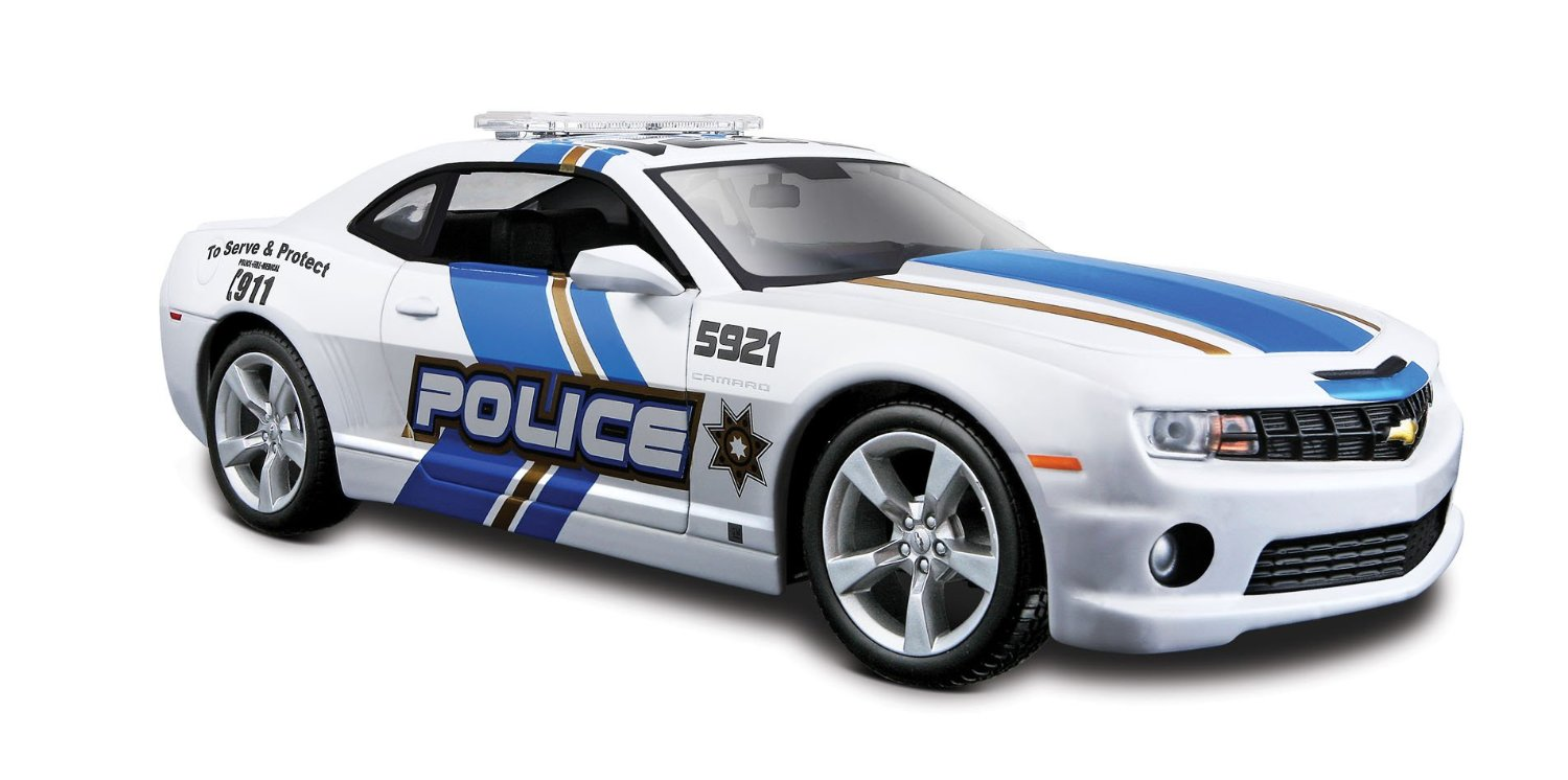 Diecast boss chevy camaro police car 124 scale wlight bar mozeypictures Image collections
