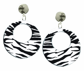 Earrings Zebra White Costume