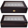 Ebony Matte Stain Glass Top Wooden 12 Watch Display Case
