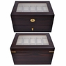 Ebony Matte Stain Glass Top Wooden 20 Watch Display Case
