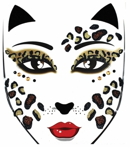 Face Decal Leopard Costume