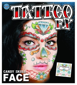 Face Tattoo Candy Skull Costume