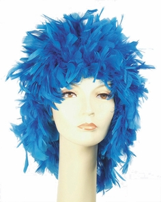 Feather Wig Light Blue Costume