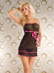 Fishnet Slip With Bow Tie 2pc Costume