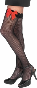 Fishnet Thi Hi Blk W Red Bow Costume