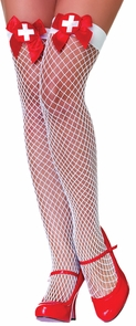 Fishnets Thi Hi Nurse Wt/rd Bw Costume