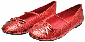 Flat Ballet Glitter Ch Red Xlg Costume