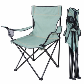Folding Chair Outdoor Camping Seat w/ Beverage Holder Green