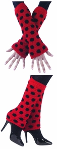 Fuzzy Arm/leg Warmers Bk/red Costume