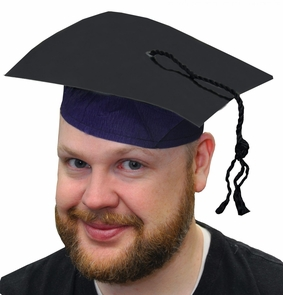 Black Cardboard Graduate Cap With Tassel Costume
