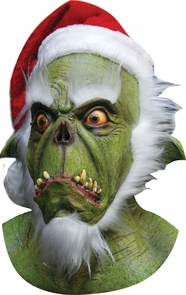 Green Santa Latex Mask Costume