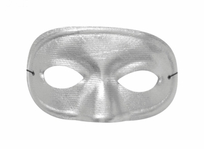 Half Domino Mask Metallic Silv Costume