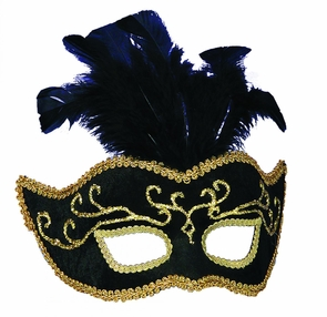Half Style Mask Bk W Gold Trim Costume