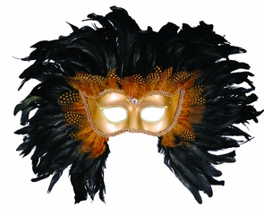 Half Style Mask Gd W Feathers Costume
