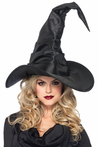Hat Witch Ruched Large Black Costume