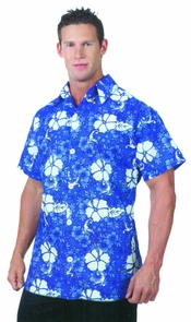 Hawaiian Shirt Blue Ad One Sz Costume