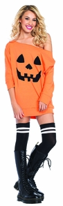Women's Pumpkin Jersey Dress Costume