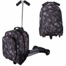 Kids Rolling Travel Luggage Scooter Oxford Bag Black & White