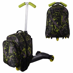 Kids Rolling Travel Luggage Scooter Oxford Bag Green & Black
