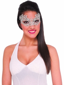 Lace Mask Silver Costume