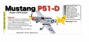 Large Scale 4 Channel P51 Mustang RC (Remote Control) Airplane W/Brushless Motor - WW2