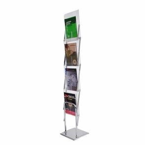 Literature Stand Magazine Brochure Holder Rack 4 Pocket