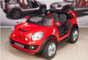 Magic Cars® 2 Seater Electric Mini Cooper Ride On Remote Control RC Car For Kids W/Leather Seats