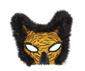 Mask Lion Feather Gold Costume