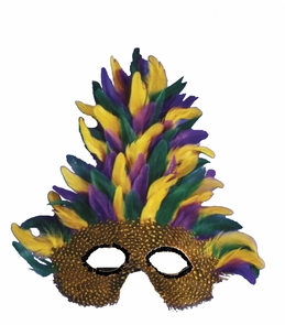 Mask Mardi Gras Tall Feather Costume