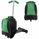 Mini Kids Rolling Luggage Scooter Oxford Bag Green & Black