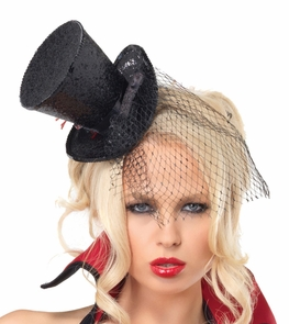 Mini Top Hat Glitter W Veil Bk Costume