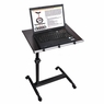 Mobile Laptop Desk Tray Table Over Bed with Roller Dark Wood