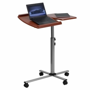 Mobile Laptop Desk Tray Table Over Bed with Roller Light Wood