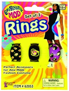 Mod Rings - Set Of 3 Costume