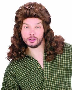 Mullet Perm Wig Brown Costume