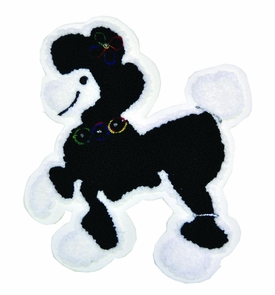 Patch Chenille Poodle 8in Bk W Costume