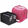 Pink Crocodile Print Soft PVC Makeup Train Cosmetic Case