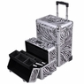 Professional Rolling Train Cosmetic Makeup Case Zebra