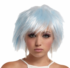 Punky Pixie Wig White-blue Costume